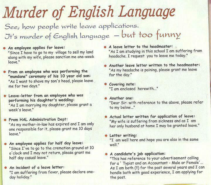 Murder Of English Language u2013 Must Read Funny Photos Pinterest - casual leave application