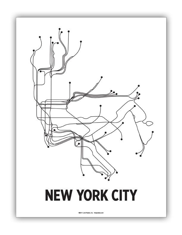 Black And White Subway Map.Original Nyc Lineposter White Black Photoshoot Inspirations