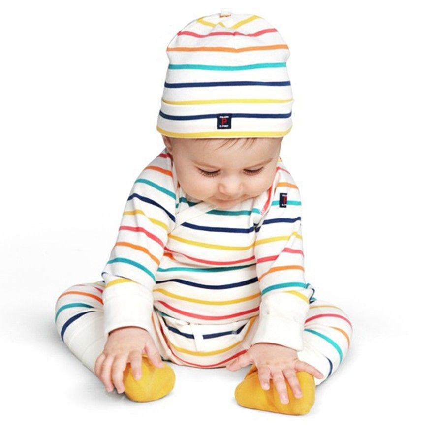 Polarn O. Pyret Colourful Striped Baby Clothes. Pastel baby clothes. Baby Outfit Inspiration.