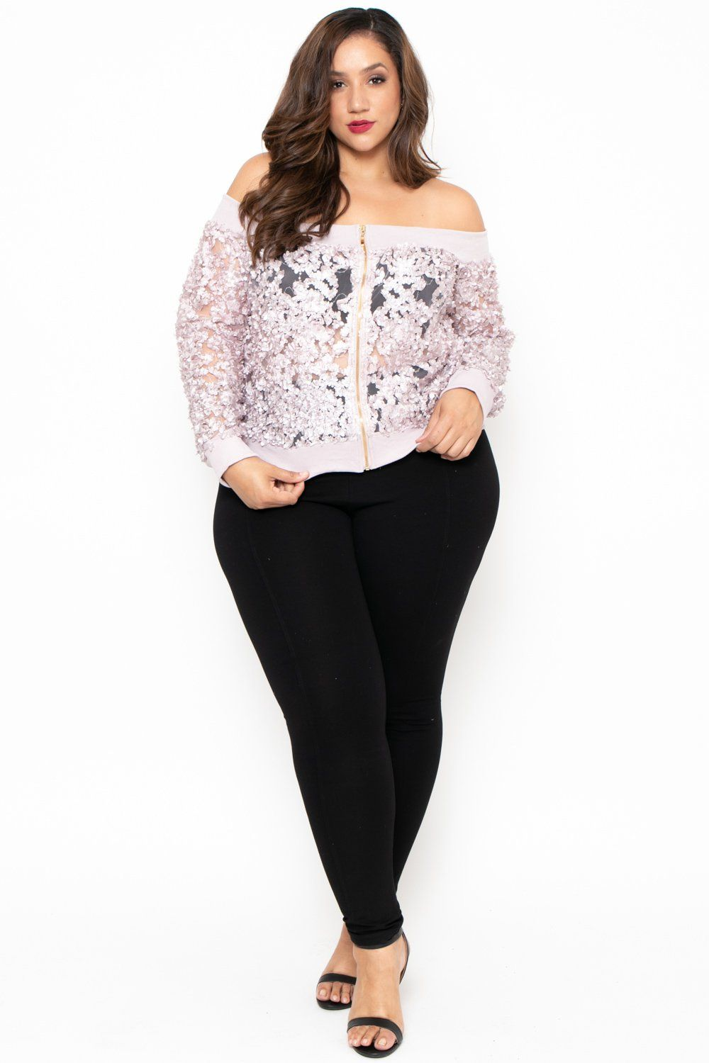 9dc5f2887fa63 Plus Size Off The Shoulder 3D Floral Jacket - Mauve – Curvy Sense ...