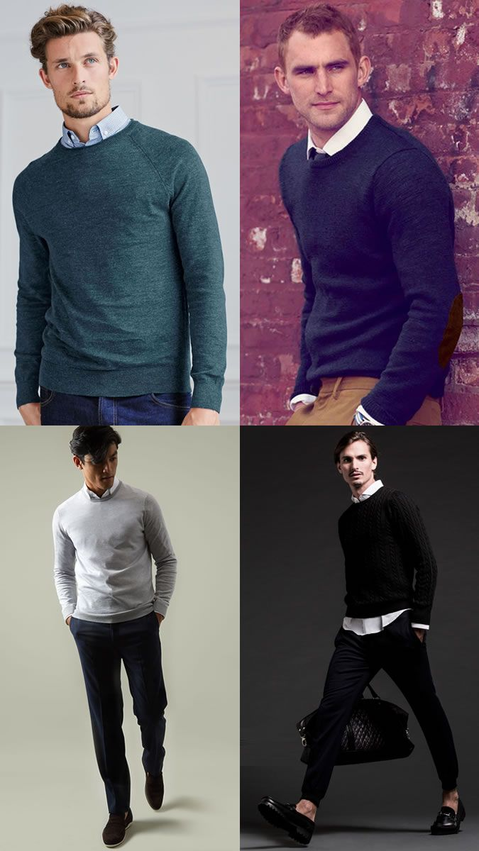 Mens Crew Neck Jumpers Over Shirts Outfit Inspiration Lookbook