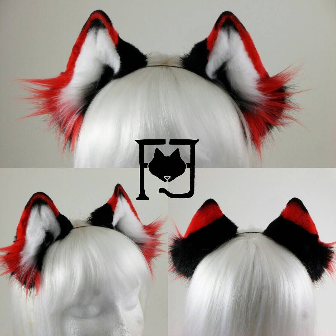 Bright Red Animal Ears Fox Cat Fancy Dress Costume Ears Dress Up