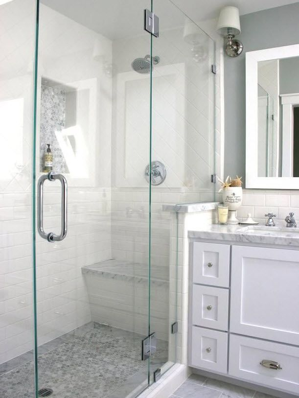 White And Gray Walk In Shower With Cabinet Seat Nickel Fixtures