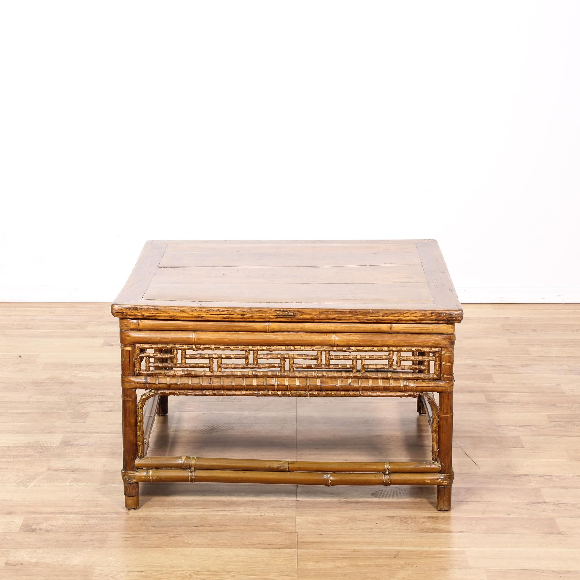 This Square Coffee Table Is Featured In A Synthetic Bamboo With A