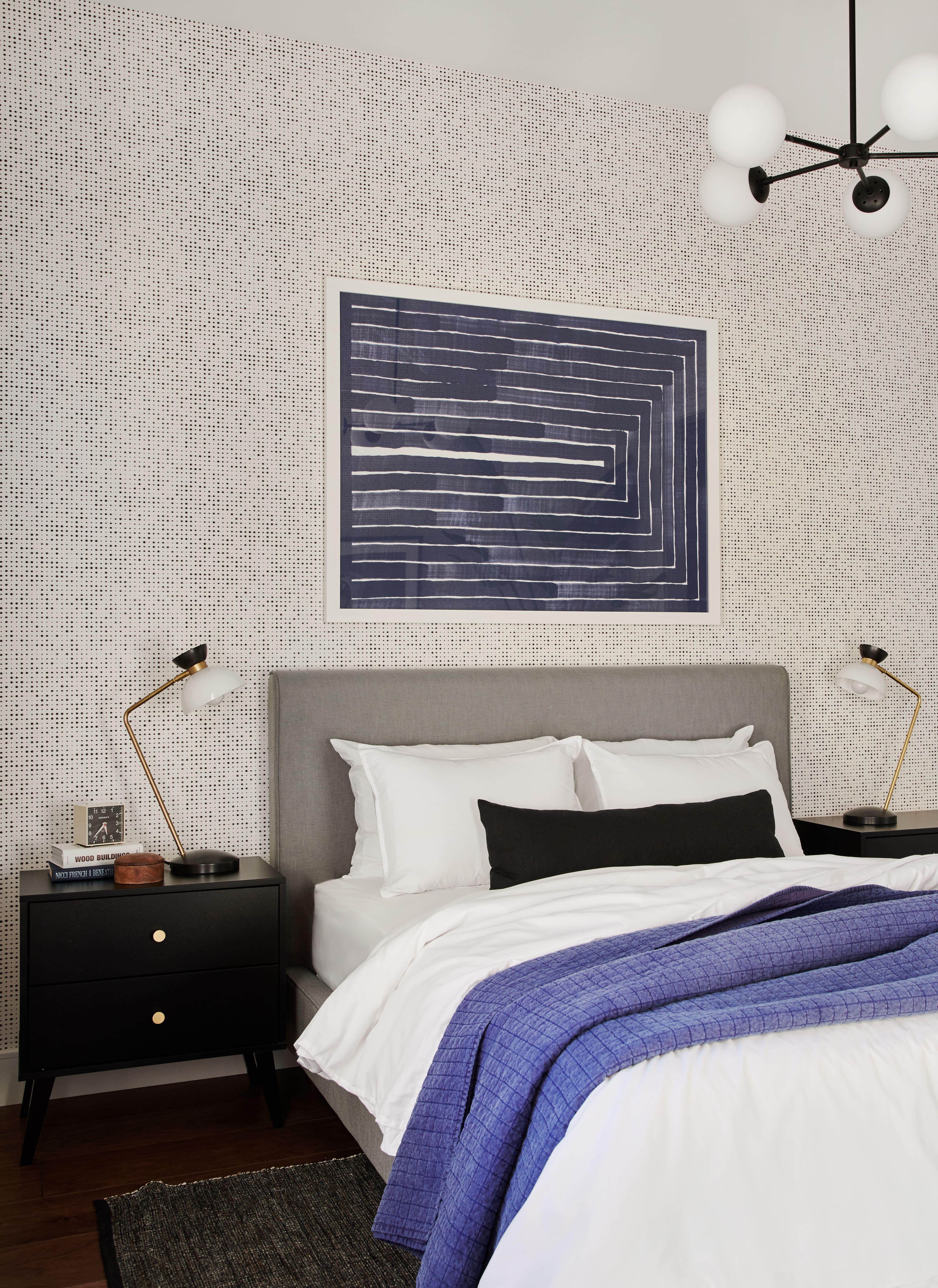 Midcentury modernized guest bedroom bathroom laundry