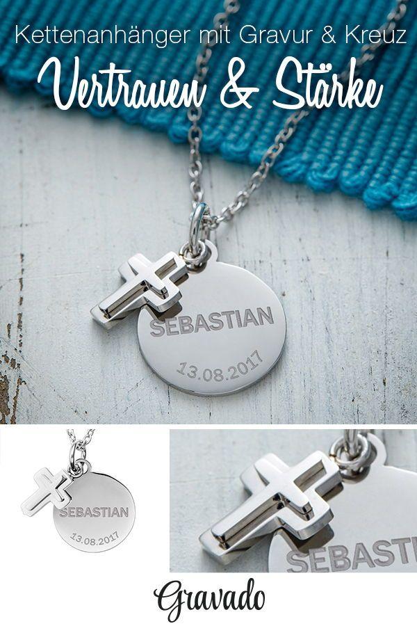 Photo of Gravierte Halskette – Kreuzanhänger – silberne Farbe – personalisiert