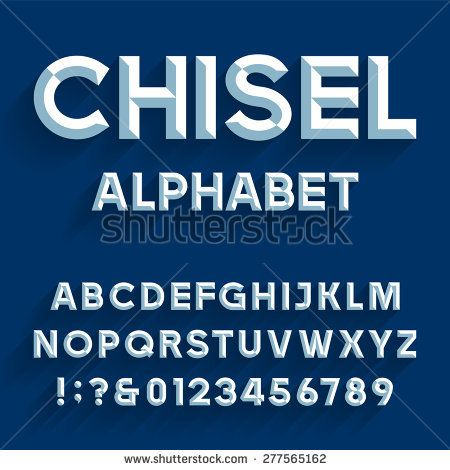 Chiseled Alphabet Vector Font Type Letters Numbers And