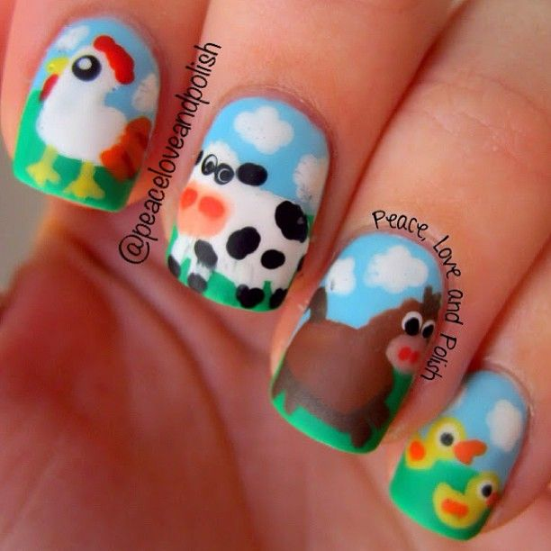 Digit-al Dozen Does Animals Week: Down on the Farm for the last day!   Check out the blog for colors and how I did this peaceloveandpolish.com