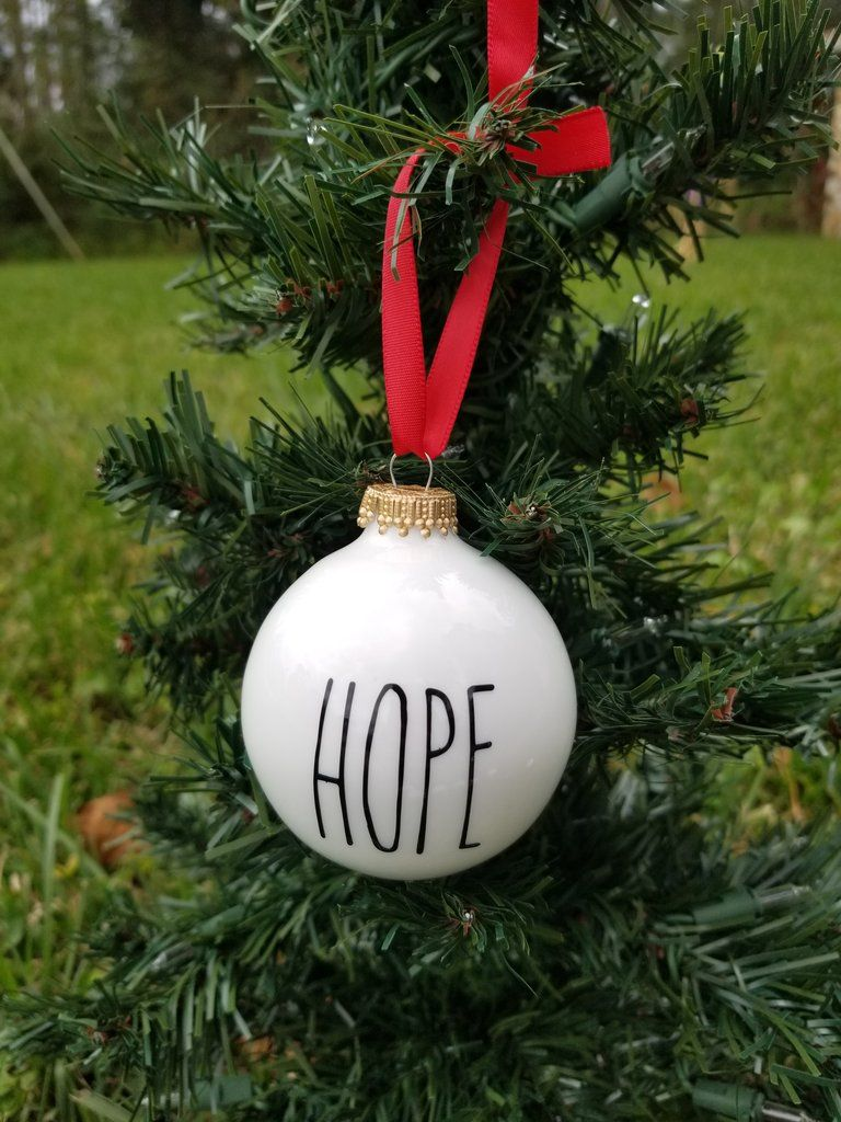 Hope White And Black Rustic Christmas Ornament Rustic