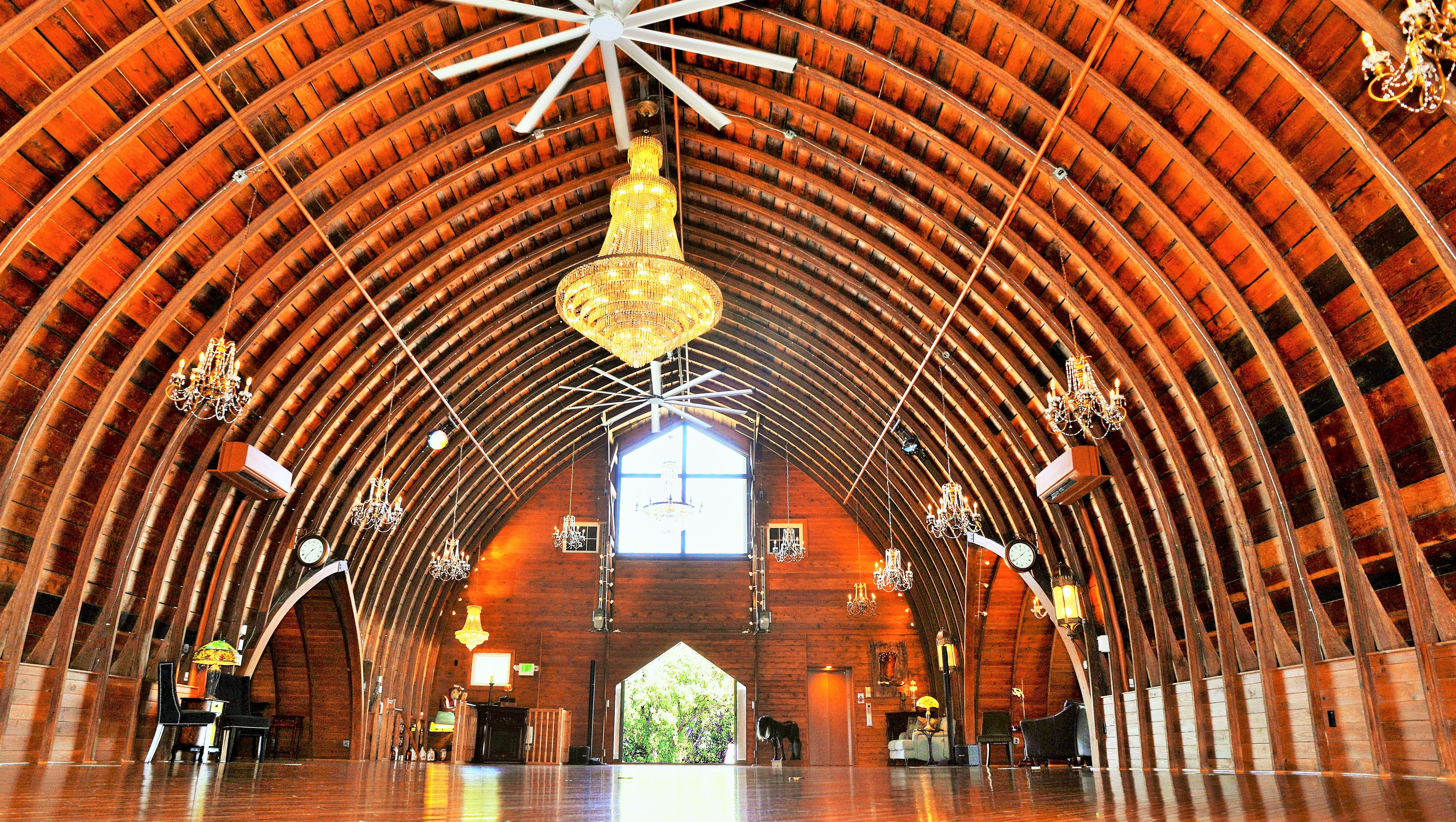 Upper Level Great Room Loft with Soaring Gothic Arch Roof