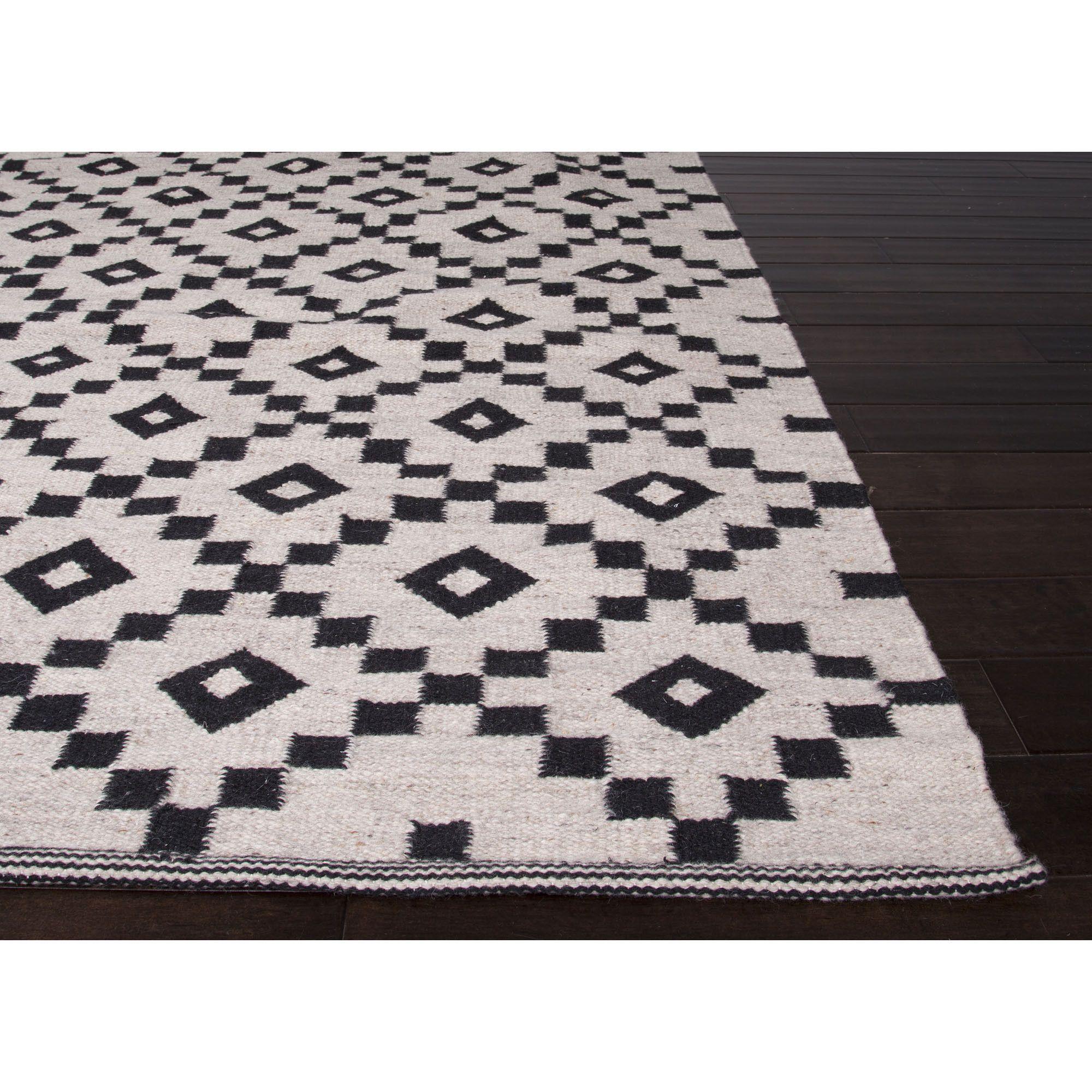 Jaipur Rugs Flatweave Geometric Pattern Ivory Black Wool Area Rug