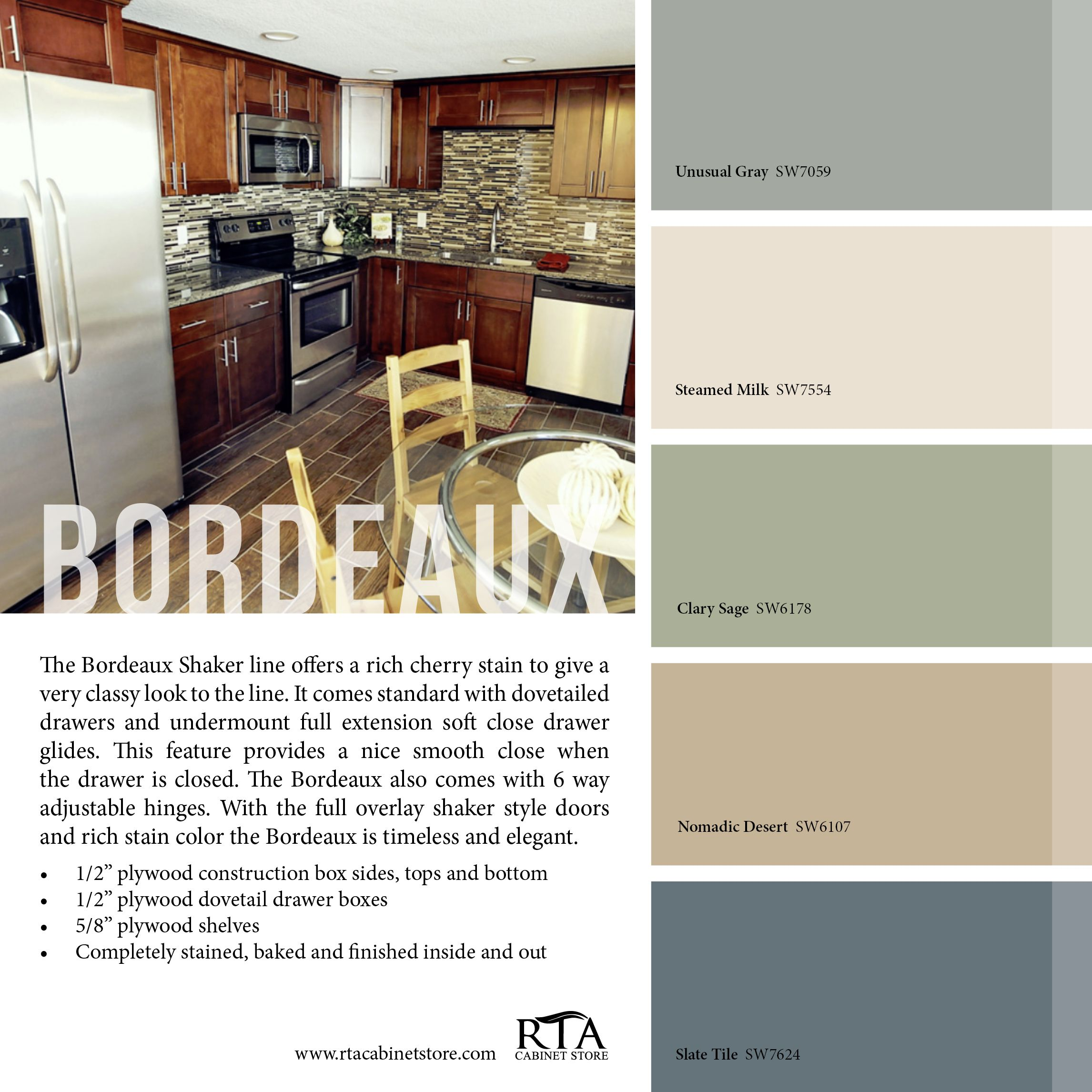 Color palette to go with our bordeaux kitchen cabinet line home