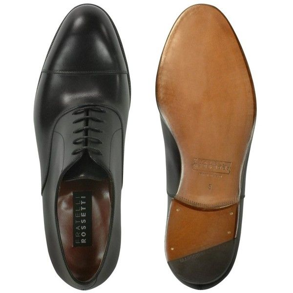 e0d88a62053 Fratelli Rossetti Black Calf Leather Cap Toe Oxford Shoes ($498 ...
