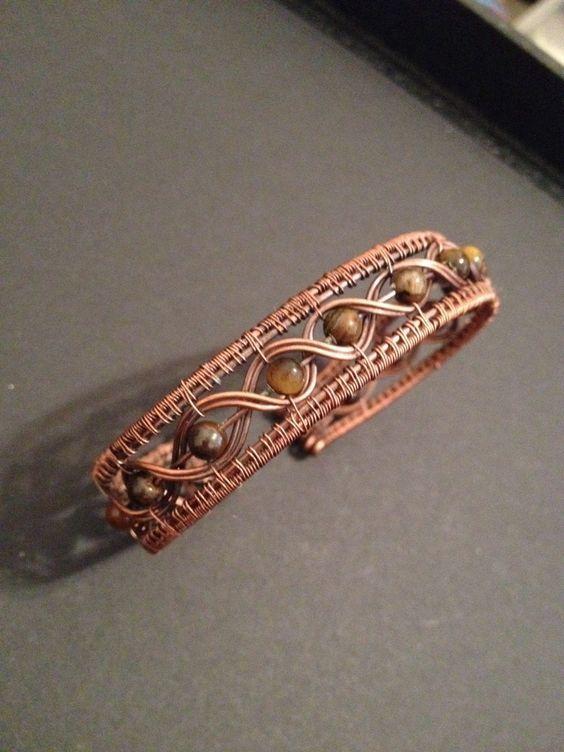 Antiqued Copper Wire Wrap Bracelet With Tigerseye Gemstones