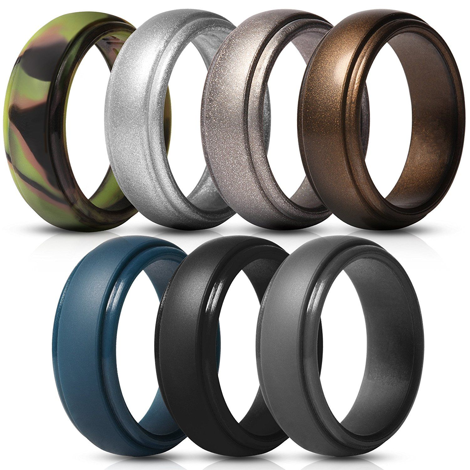 Saco Band Silicone Rings for Men 7 Pack