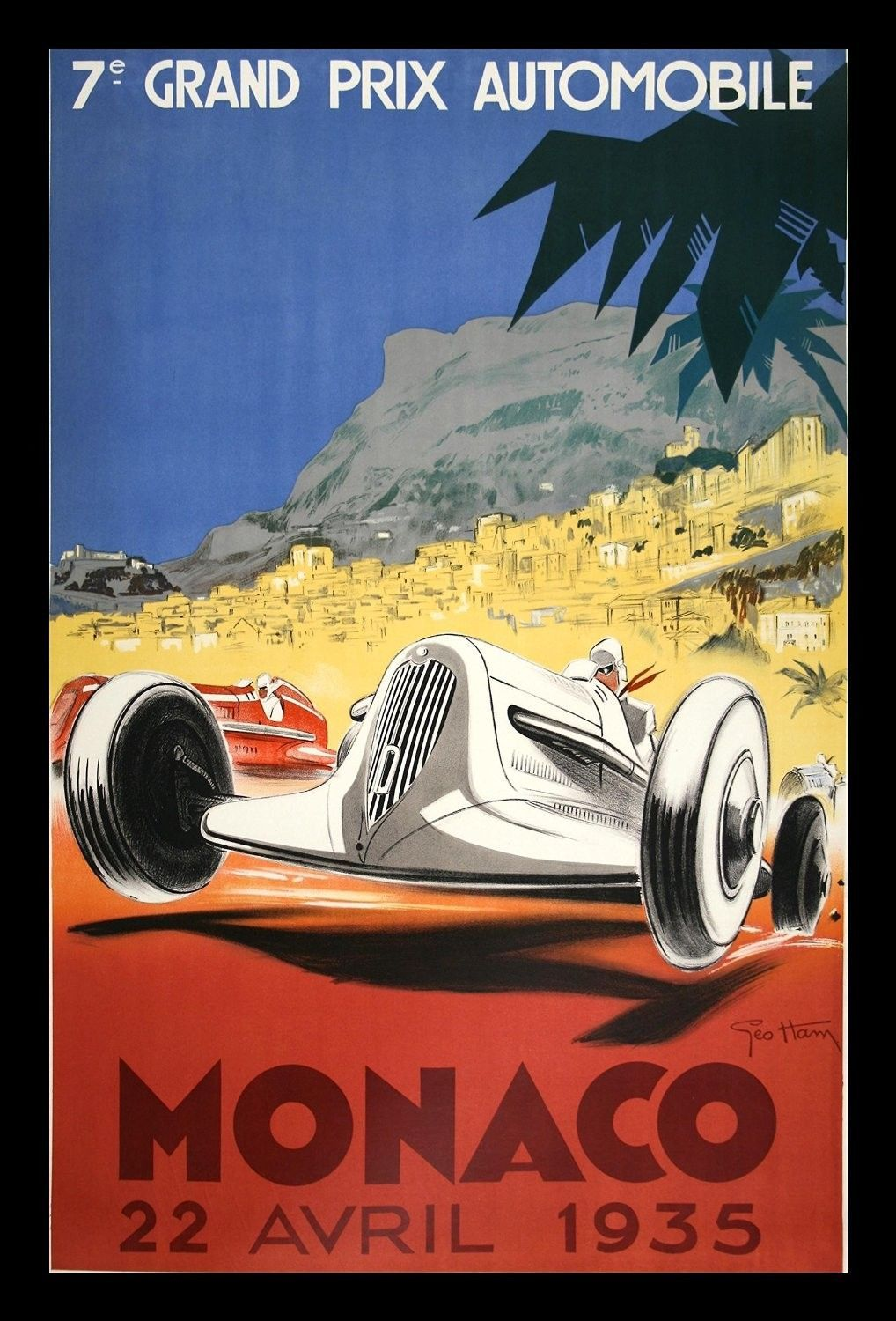 Piece Automobile Prix Monaco 1935 Grand Prix Automobile By George Ham Framed Vintage