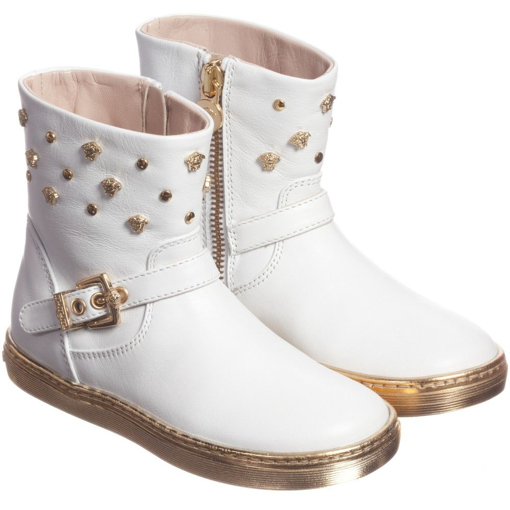 44f4300c24 Young Versace Girls White Boots With Gold Sole at Childrensalon.com ...