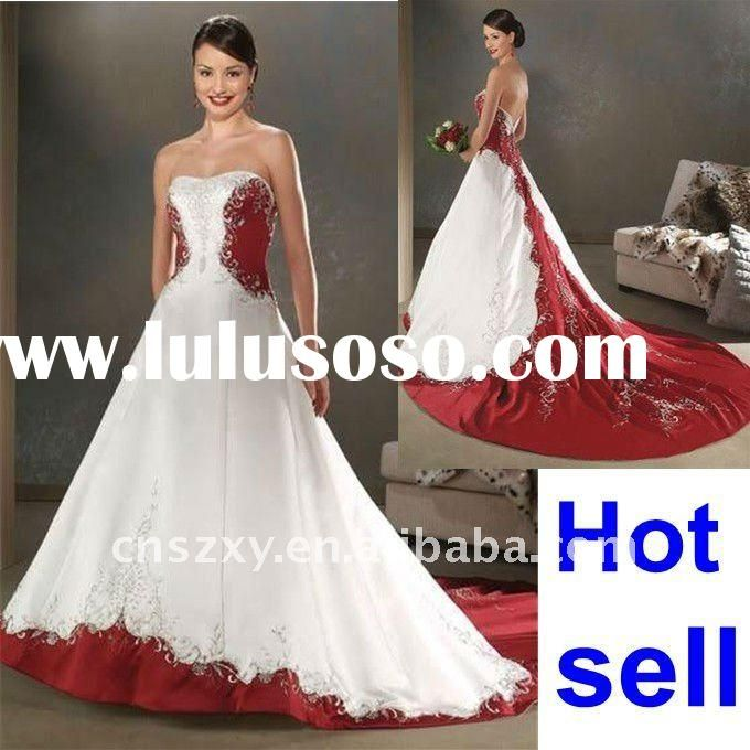 vestido de noiva 2015 red and white wedding dresses women a line ...