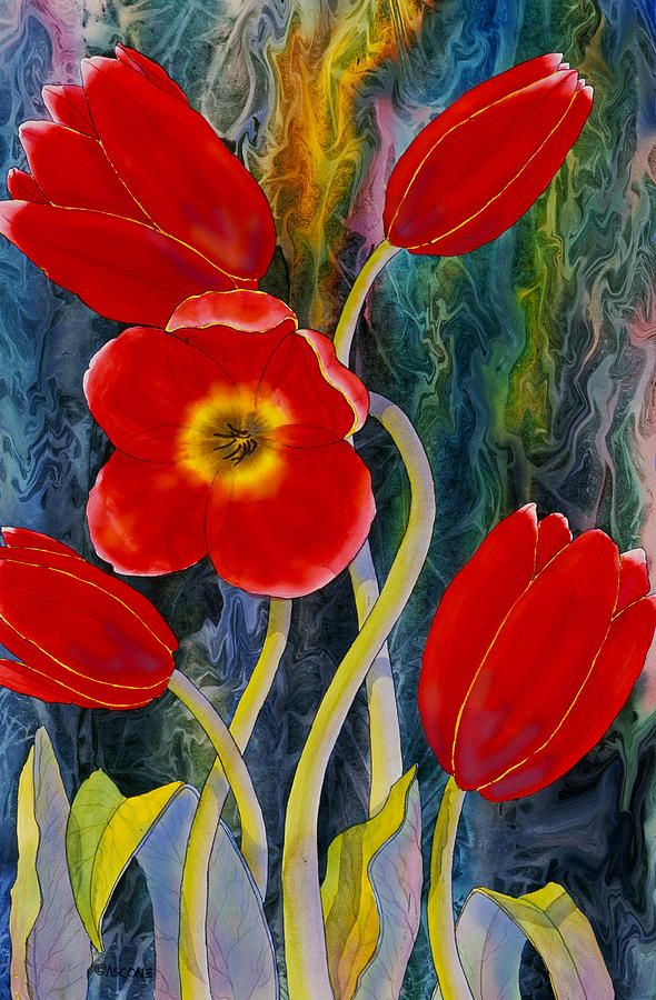Red Tulips Painting by Teresa Ascone