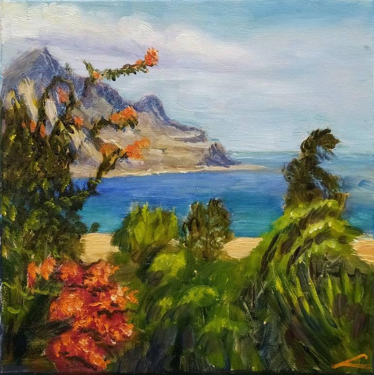 Original Landscape Painting By Elena Sokolova Impressionism Art On Canvas Sicilian Paradise Painting Paradise Painting Oil Painting On Canvas
