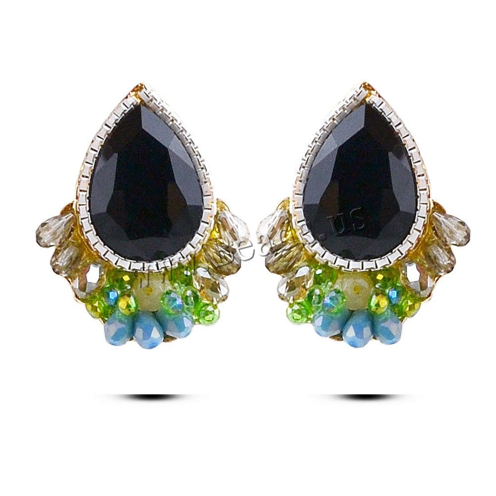 Crystal Earrings, Zinc Alloy, with Crystal, stainless steel post pin, Teardrop, gold color plated, handmade & with painted & colorful plated & faceted, lead & cadmium free, 32x25mm,china wholesale jewelry beads