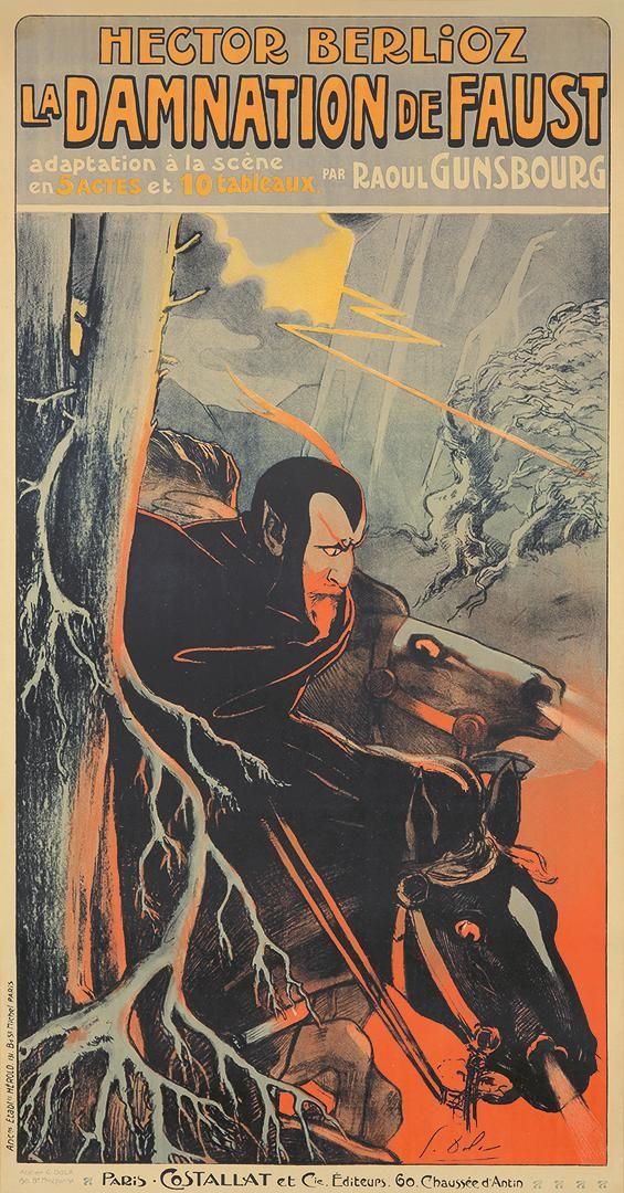 Georges Dola Edmond Vernier 1872 1950 Size 28 X 54 1 2 In 71 X 138 4 Cm Condition A Printer Herold Paris Refer American Fine Art Poster Goethe S Faust