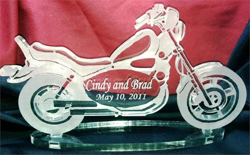 Motorcycle Themed Cake Topper Clic Style Bike Custom Engraved Per Your Order