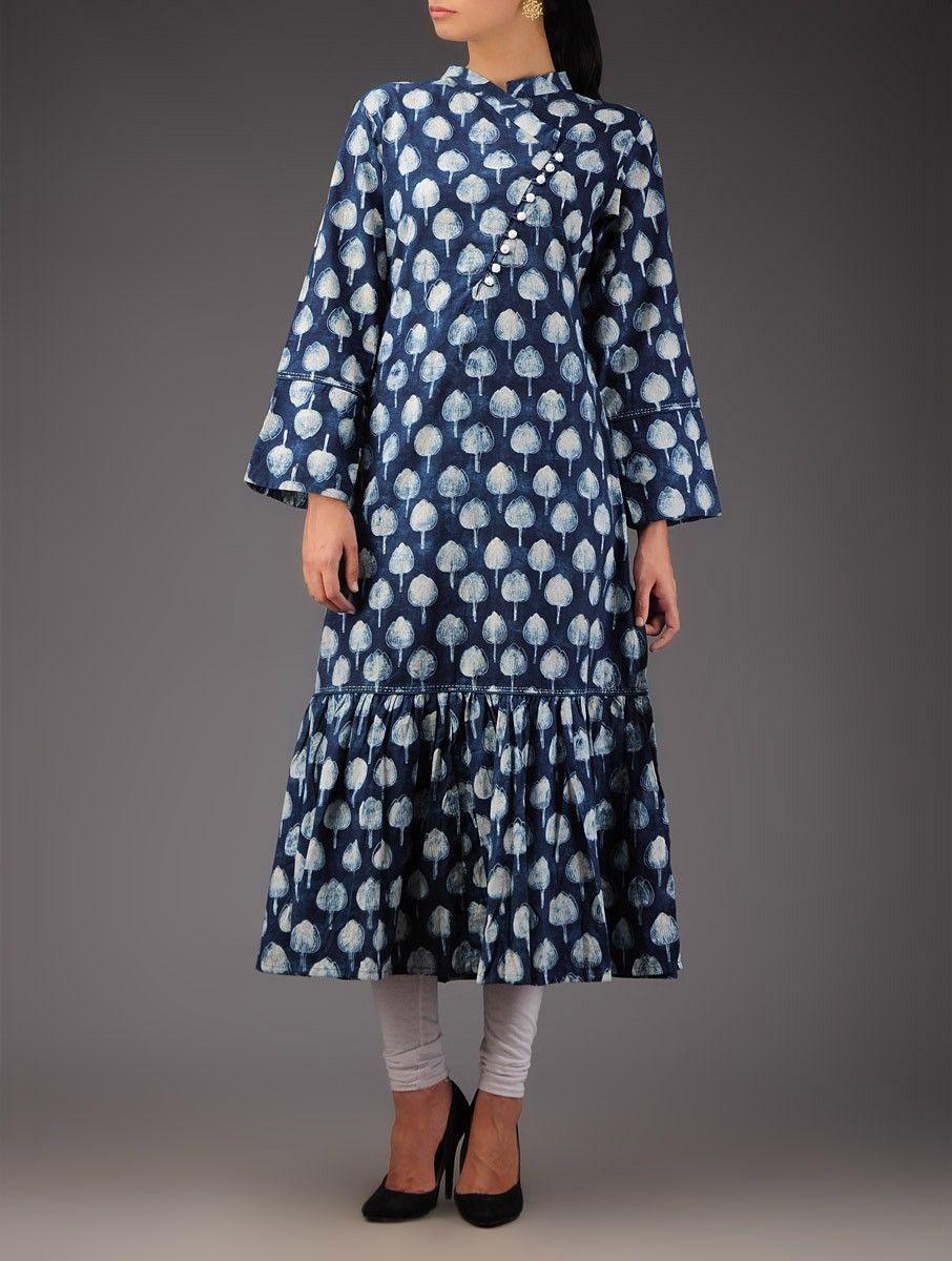 Buy indigo dyed tulip motif hand block printed long tunic cotton