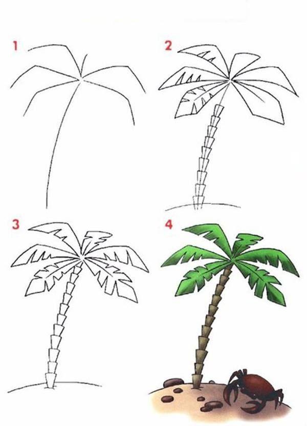 Palmier how to draw comment dessiner en 2018 pinterest dessin dessins faciles et - Dessin de palmier ...
