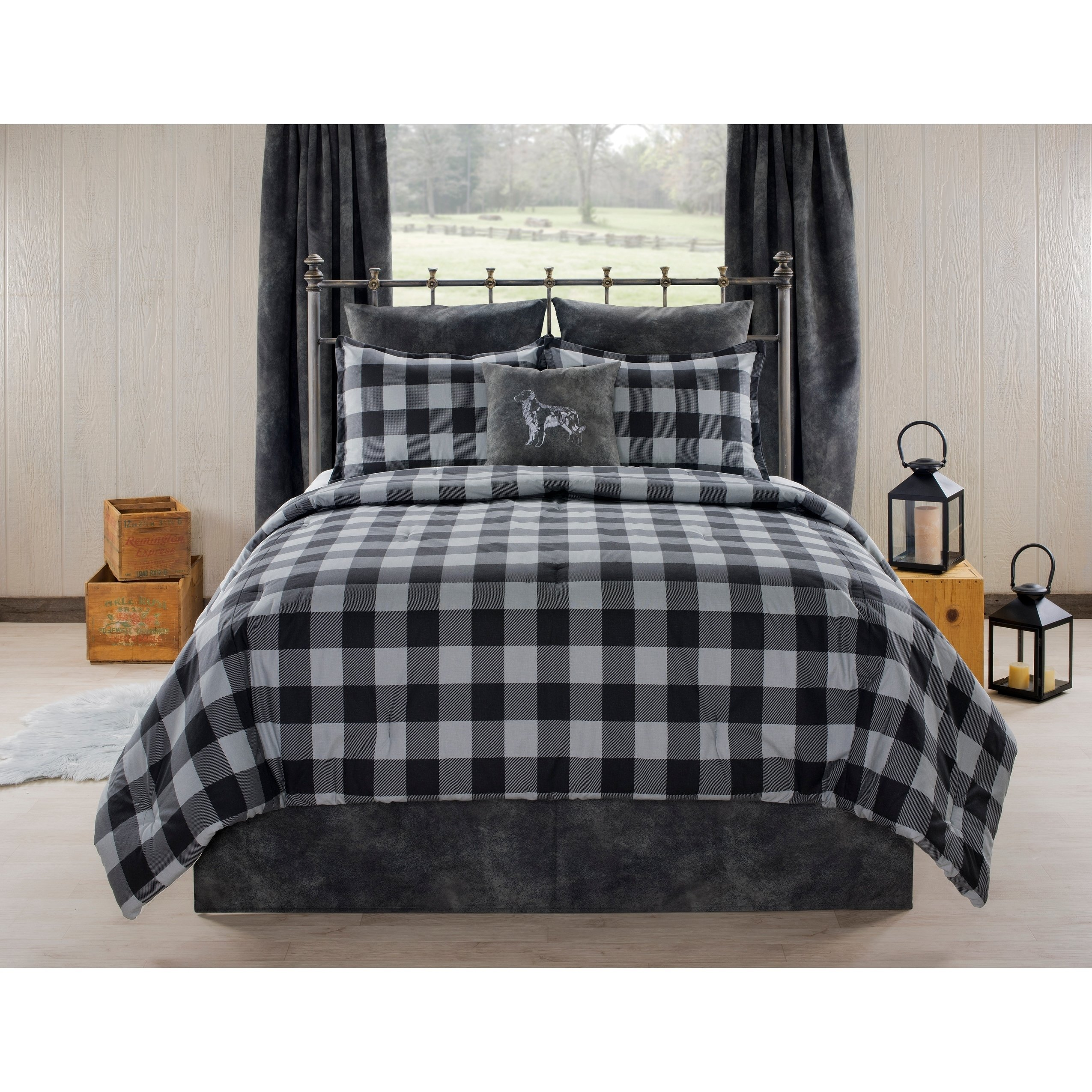 Aspen Cabin And Lodge Gray Plaid Comforter Set Queen 4 Piece