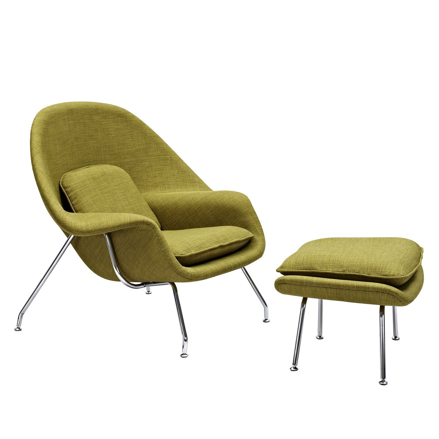 Saro midcentury modern chair and ottoman in avocado green fabric on