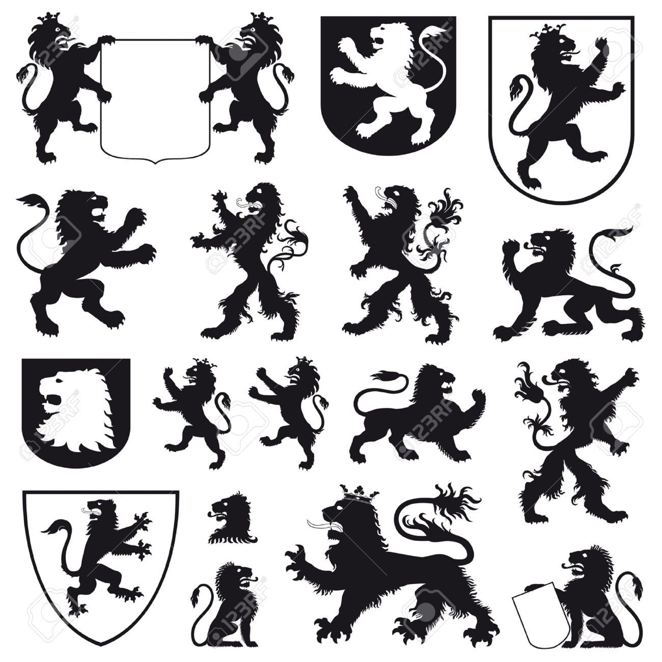 Silhouettes Of Heraldic Lions Royalty Free Cliparts ...