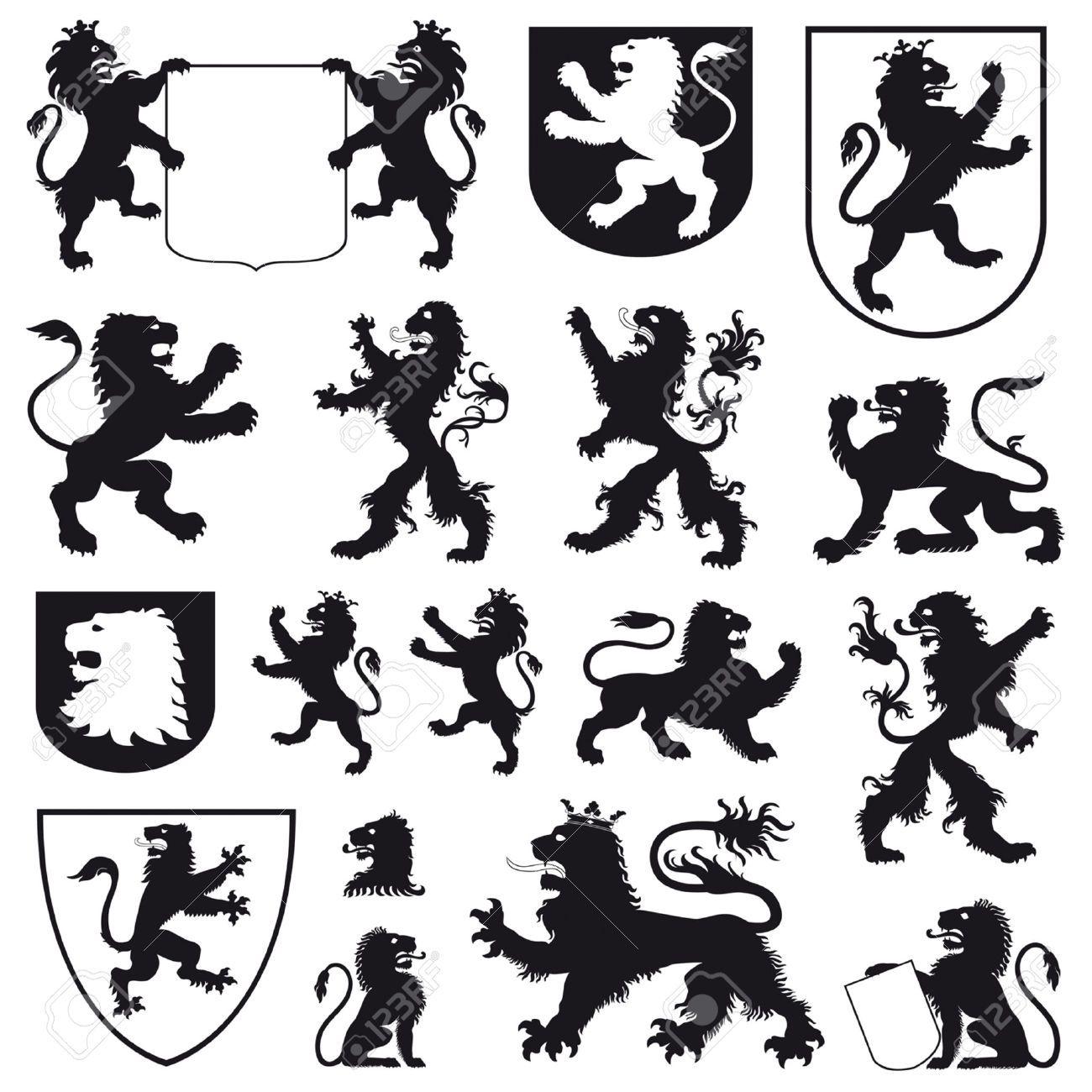 silhouettes of heraldic lions robin hood pinterest