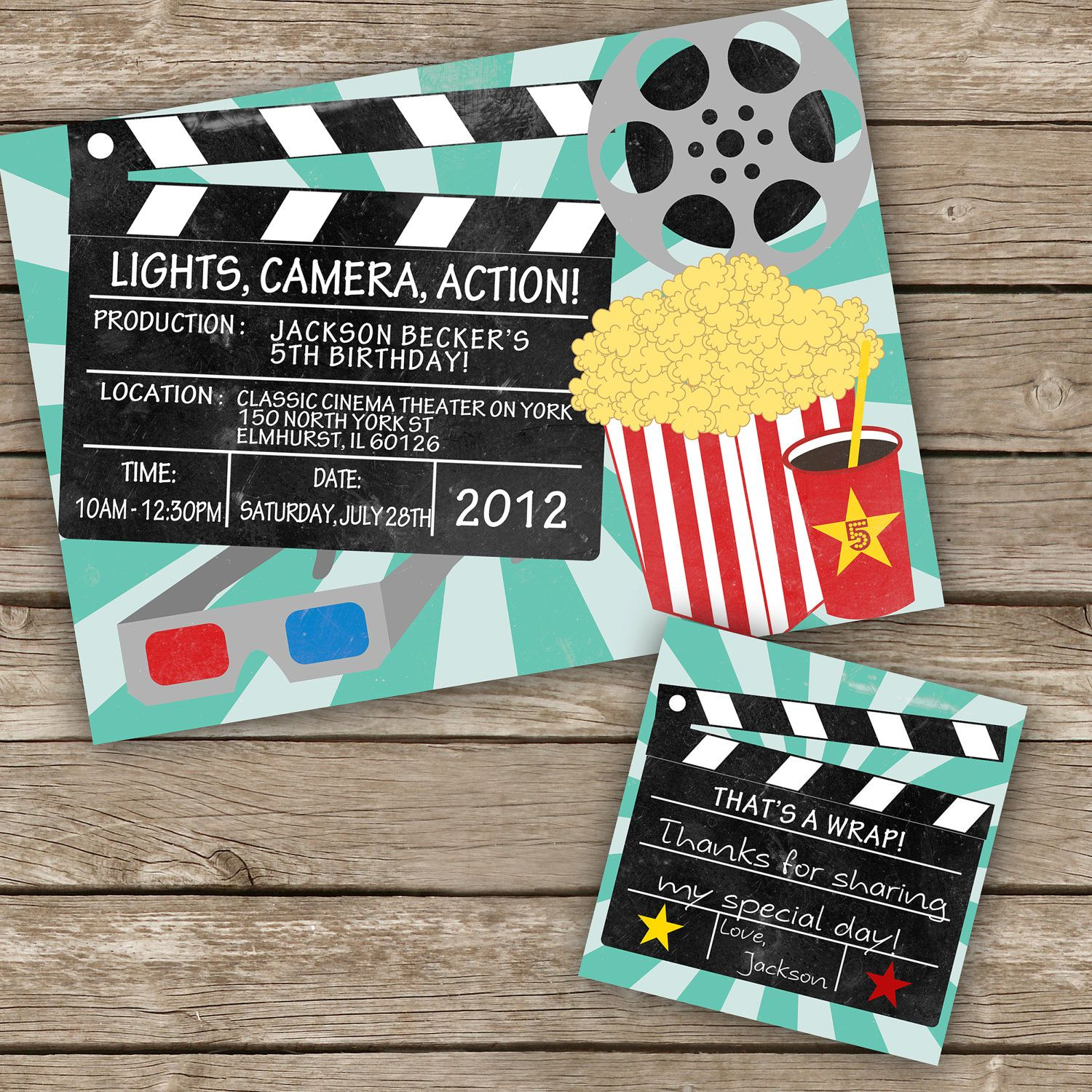 Movie Theme Party Printable DIY Night Invitation By Whatthehootdesigns On Etsy