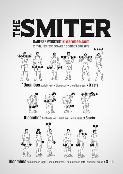 The Smiter, free, very difficult workout by Darebee #dumbbellworkout The Smiter, free, very difficult workout by Darebee