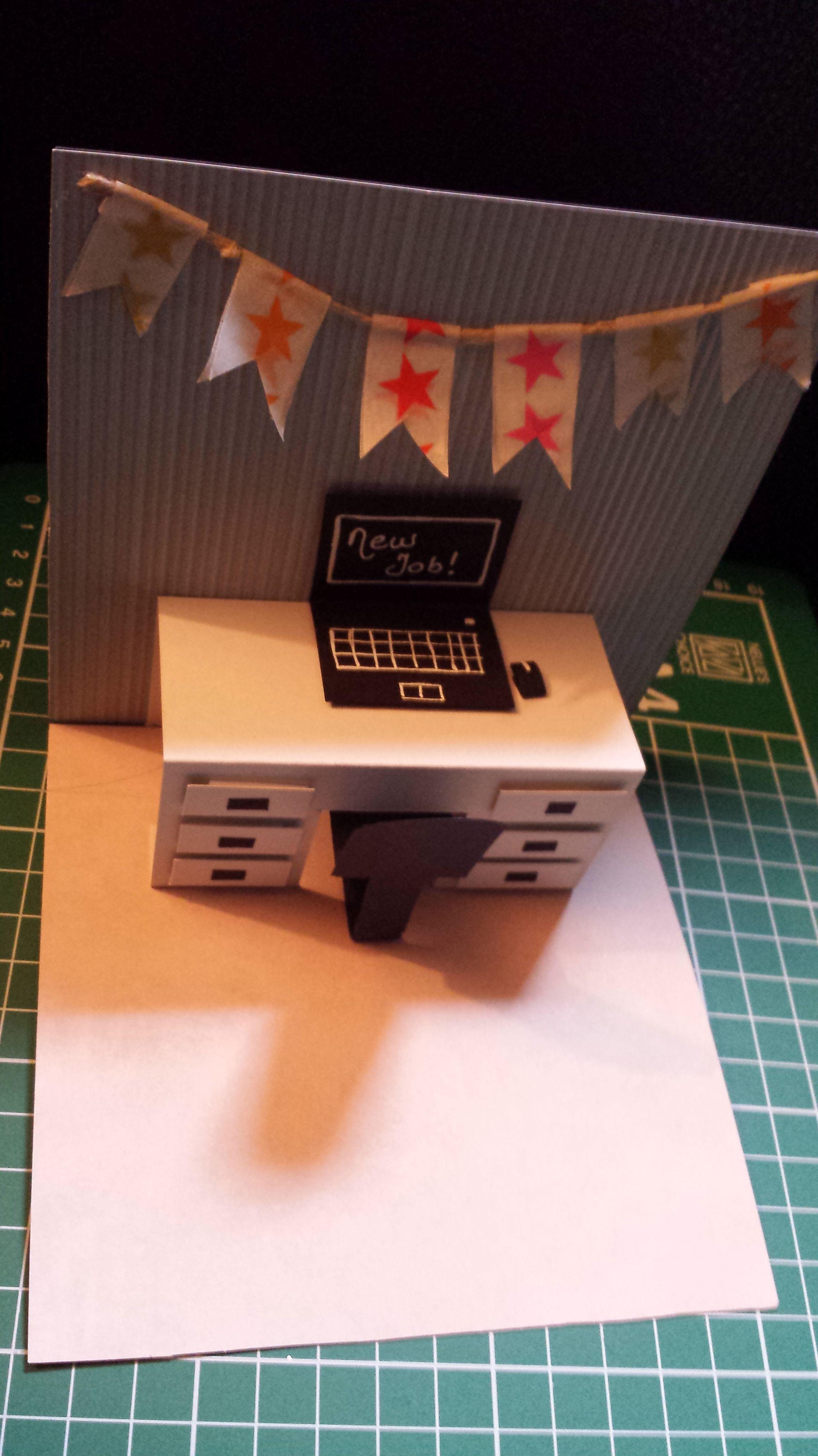 Scrapbook ideas pop up - Pop Up Desk Card New Job