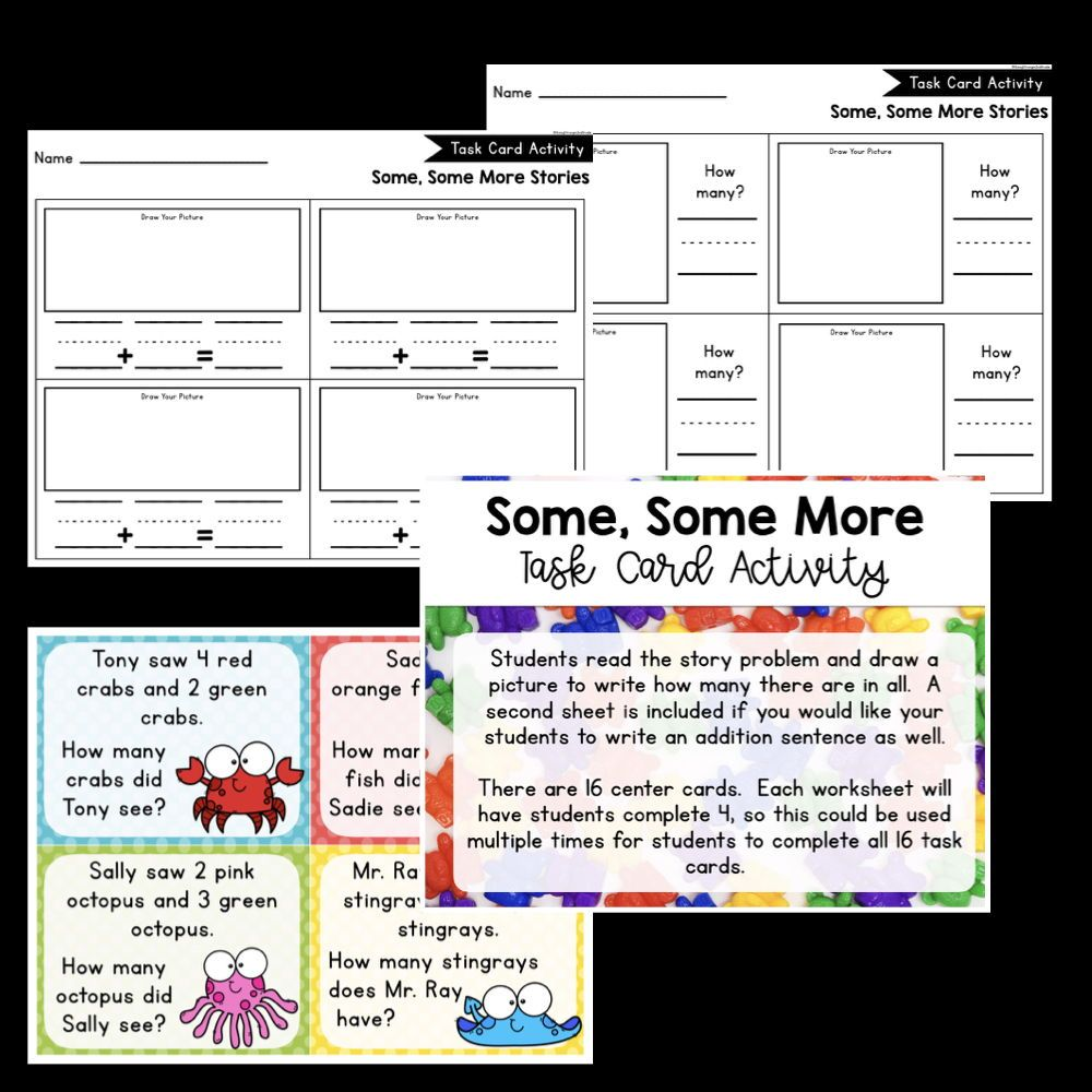 Some Some More Simple Addition Story Problems Worksheets Games And Centers To Practice Counting On And S Word Problems Task Card Activities Story Problems [ 1000 x 1000 Pixel ]