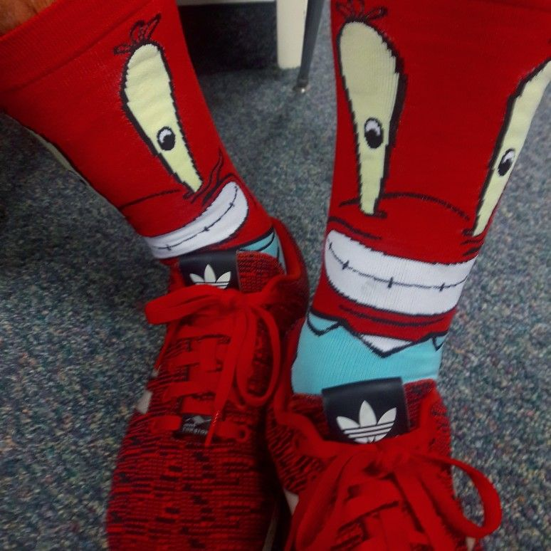 Mr Krabbs socks and Adidas shoes today