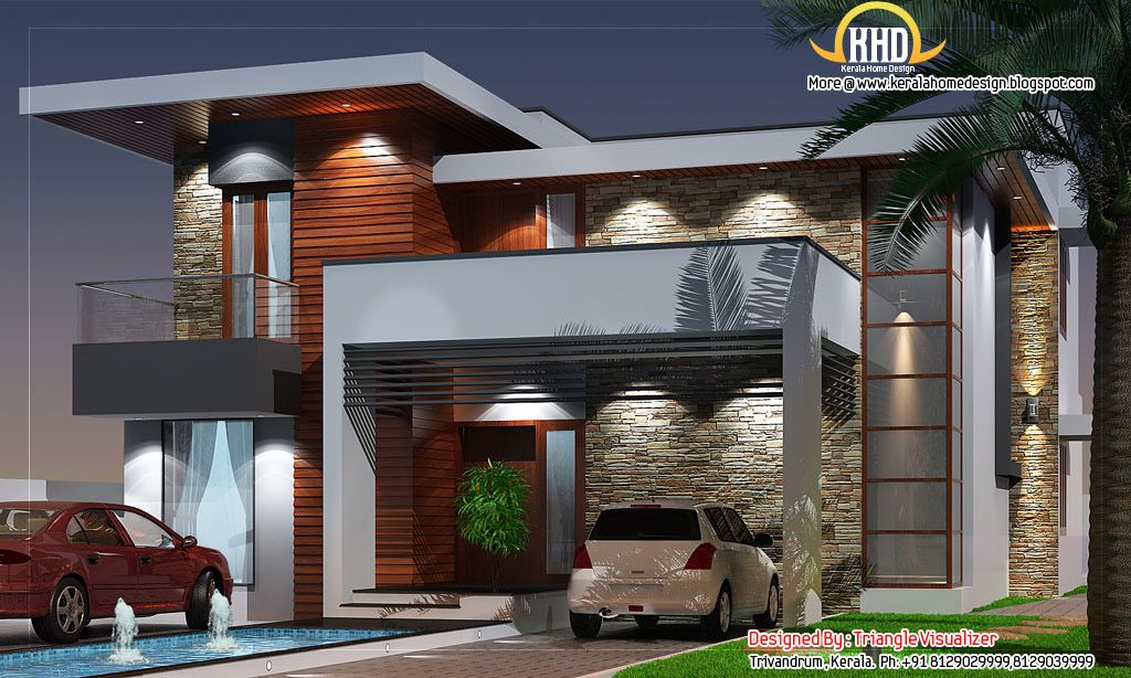 Modern House Elevation 263 Sq M 2831 Sq Ft January 2012 Modern Family House Kerala House Design Contemporary House Design