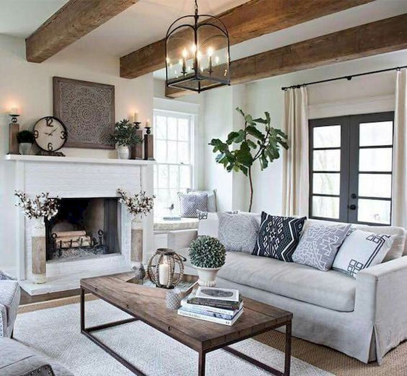 70 elegant modern farmhouse living room decor ideas and - Modern farmhouse living room ...