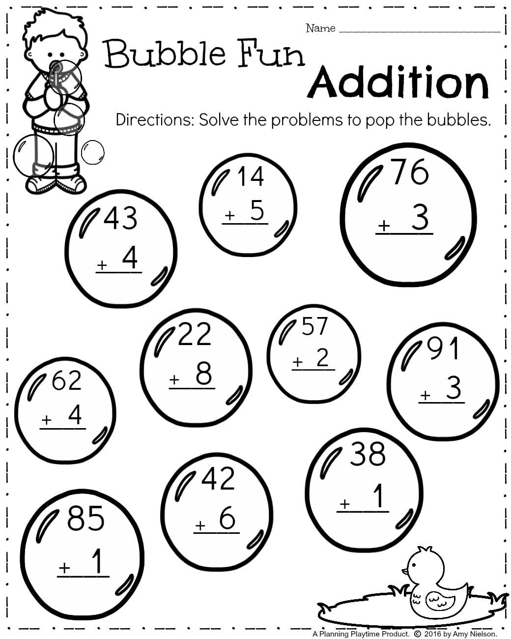 First Grade Math Worksheets for Spring - Addition 2 Digits plus 1 digit.   1st  grade math worksheets [ 1300 x 1040 Pixel ]