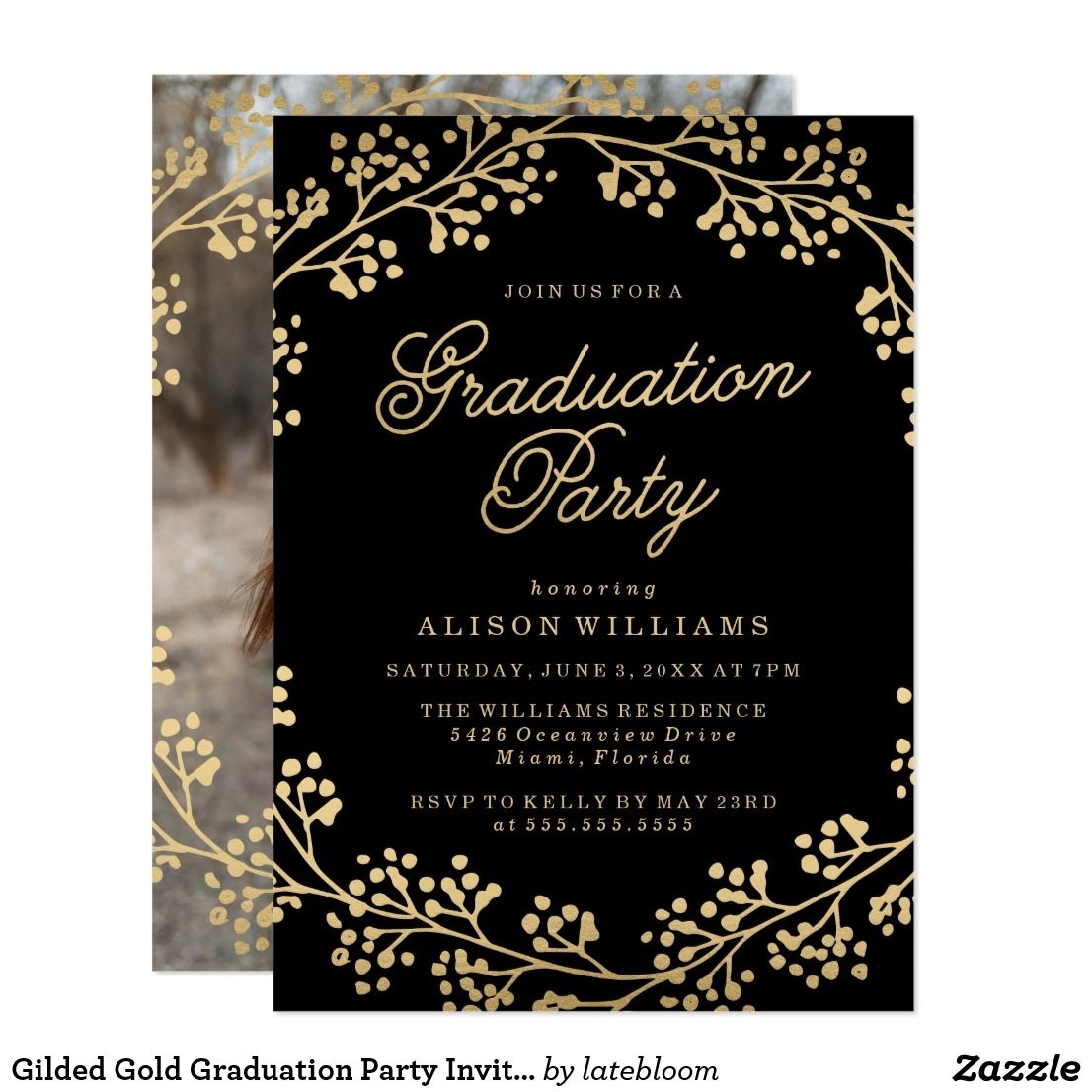 Gilded gold graduation party invitation graduation pinterest gilded gold graduation party invitation filmwisefo Gallery