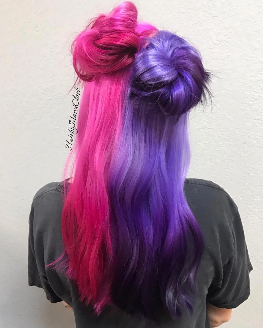 Half And Half Pink And Purple Reverse Ombre Hairbymarciclark Pinkhair Purplehair Reverseombre Hal Half Colored Hair Hair Dye Colors Purple Ombre Hair