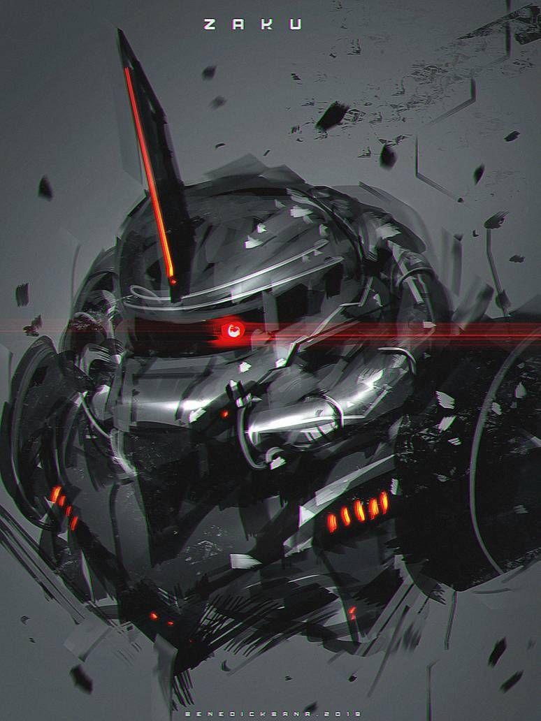 Zaku Fanart By Https Www Deviantart Com Benedickbana On Deviantart Gundam Art Gundam Head Gundam Wallpapers