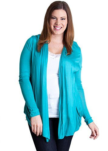 Fashion Bug Viridine Green Ladies Plus Size Open Front Tapered Long ...