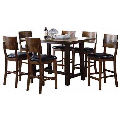 Geronimo Mid Century Modern 7 Piece Counter Height Dining Table U0026 6 Stool  Chairs In 5