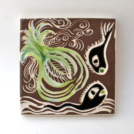 playful pollywogs hand carved ceramic art tile