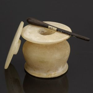 Kohl Pot, Egyptian, alabaster with kohl bronze kohl stick