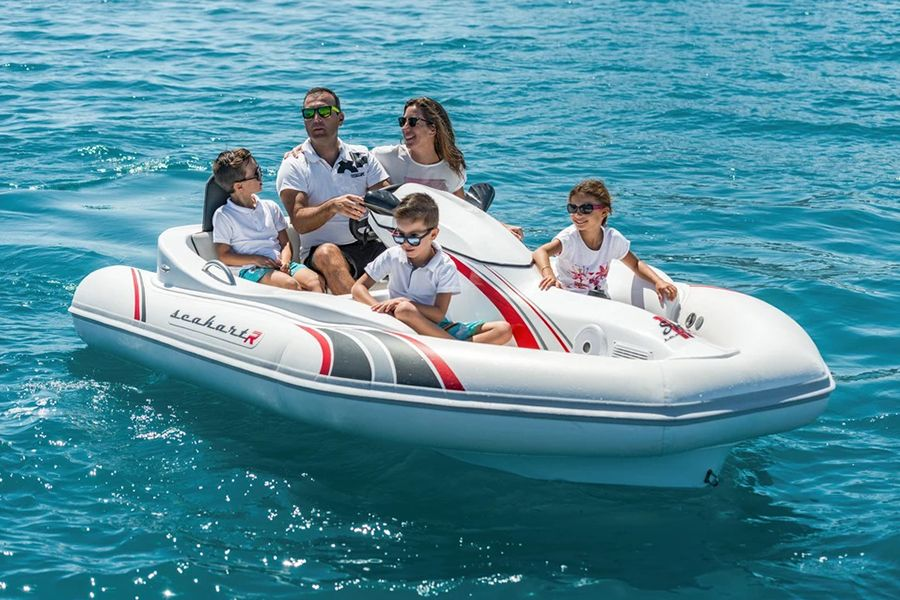 The Seakart 335 Watercraft Could Be A Jet Ski Or A Yacht Tender Man Of Many Water Crafts Inflatable Boat Jet Ski