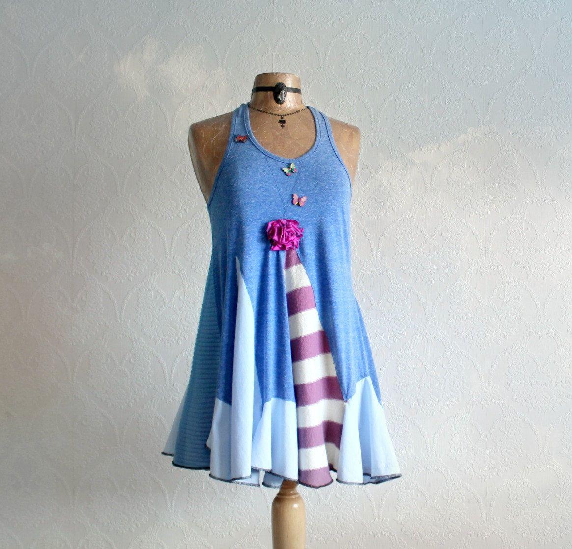Blue Lagenlook Top Summer Boho Shirt Fit by BrokenGhostClothing
